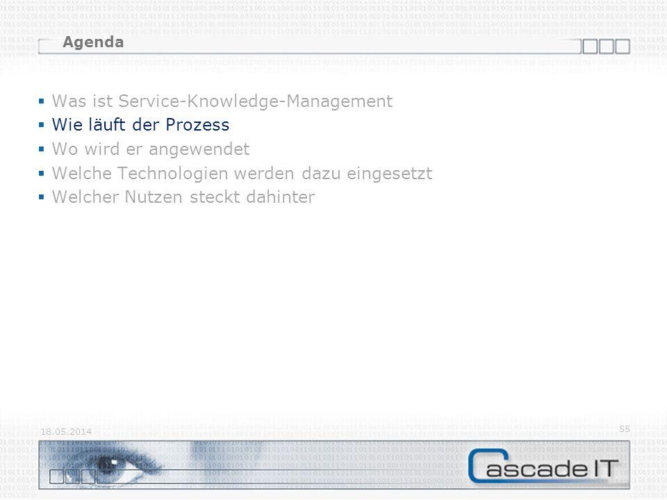 Agenda Was ist Service-Knowledge-Management Wie läuft der Prozess Wo wird er angewendet Welche Technologien werden dazu eingesetzt Welcher Nutzen steckt dahinter 18.05.2014 55