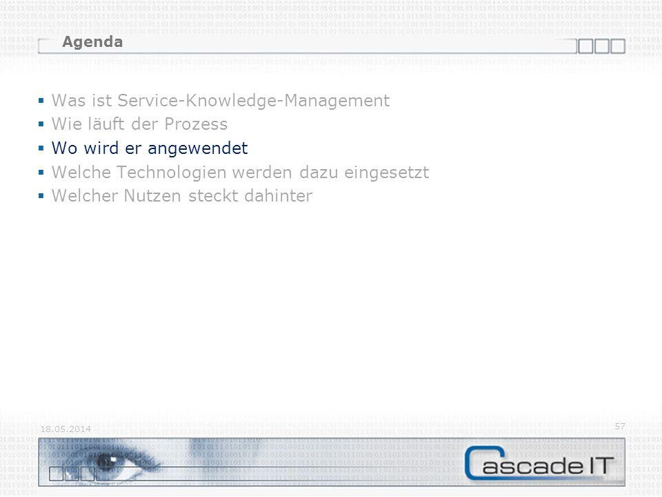 Agenda Was ist Service-Knowledge-Management Wie läuft der Prozess Wo wird er angewendet Welche Technologien werden dazu eingesetzt Welcher Nutzen steckt dahinter 18.05.2014 57