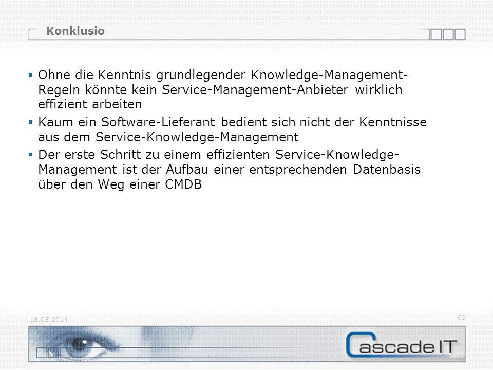 Konklusio Ohne die Kenntnis grundlegender Knowledge-Management- Regeln könnte kein Service-Management-Anbieter wirklich effizient arbeiten Kaum ein So