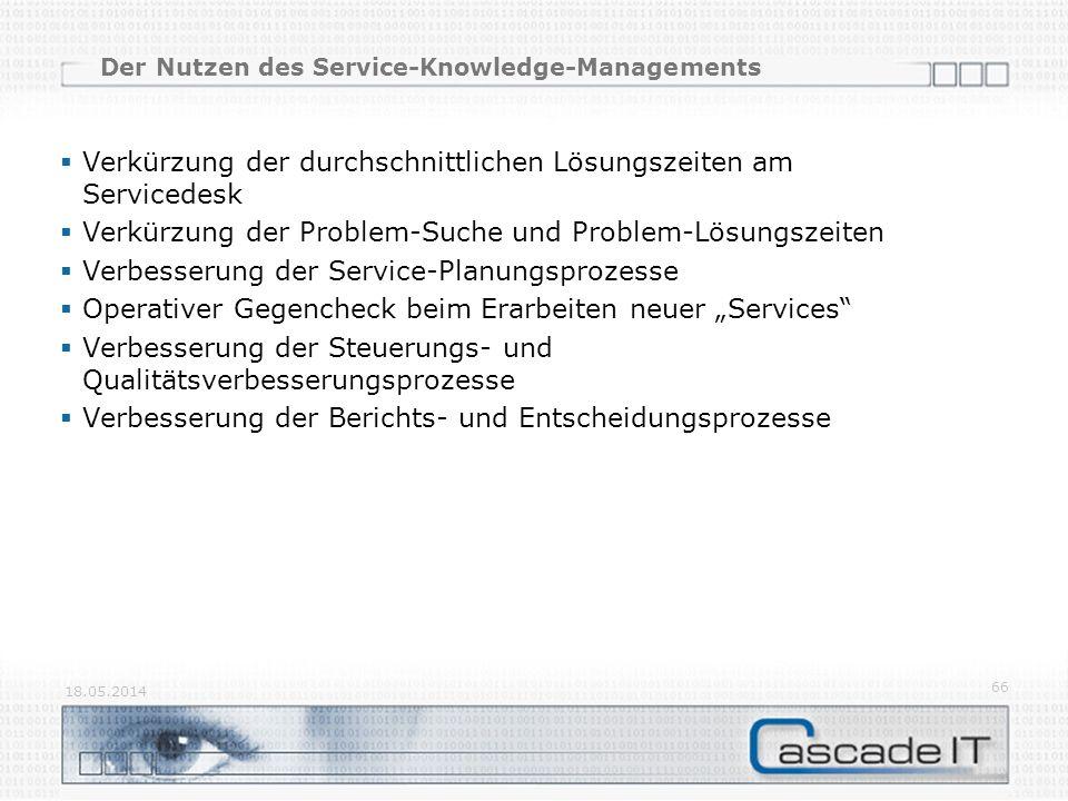 Der Nutzen des Service-Knowledge-Managements Verkürzung der durchschnittlichen Lösungszeiten am Servicedesk Verkürzung der Problem-Suche und Problem-L