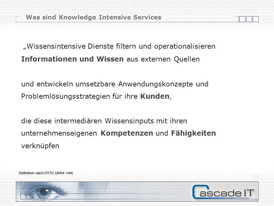 Was sind Knowledge Intensive Services Wissensintensive Dienste filtern und operationalisieren Informationen und Wissen aus externen Quellen und entwic