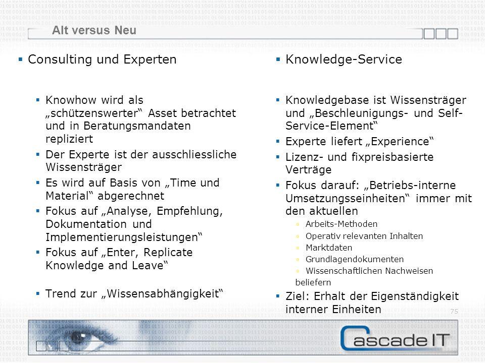 Alt versus Neu 75 Consulting und Experten Knowledge-Service Knowledgebase ist Wissensträger und Beschleunigungs- und Self- Service-Element Experte lie