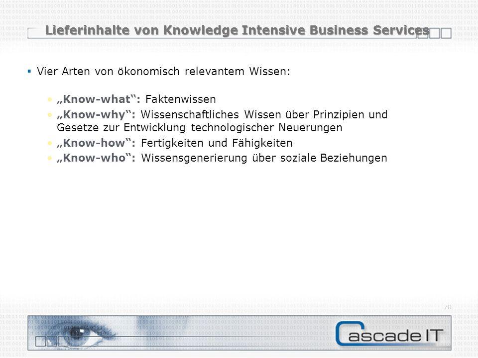 Lieferinhalte von Knowledge Intensive Business Services Vier Arten von ökonomisch relevantem Wissen: Know-what: Faktenwissen Know-why: Wissenschaftlic