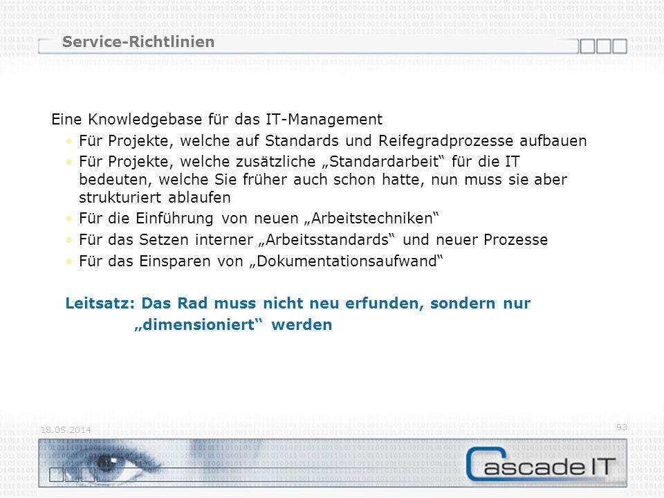 Service-Richtlinien Eine Knowledgebase für das IT-Management Für Projekte, welche auf Standards und Reifegradprozesse aufbauen Für Projekte, welche zu