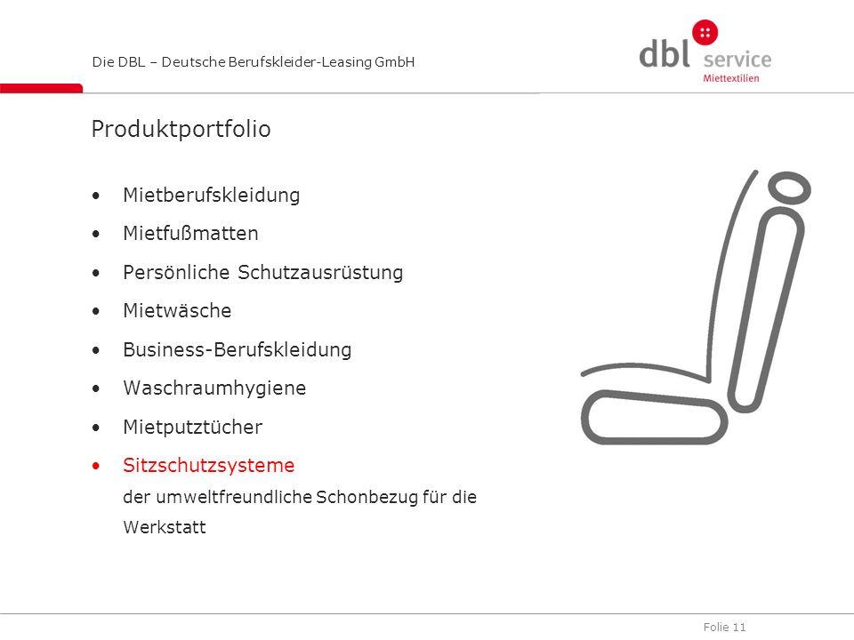 Folie 11 Die DBL – Deutsche Berufskleider-Leasing GmbH Produktportfolio Mietberufskleidung Mietfußmatten Persönliche Schutzausrüstung Mietwäsche Busin