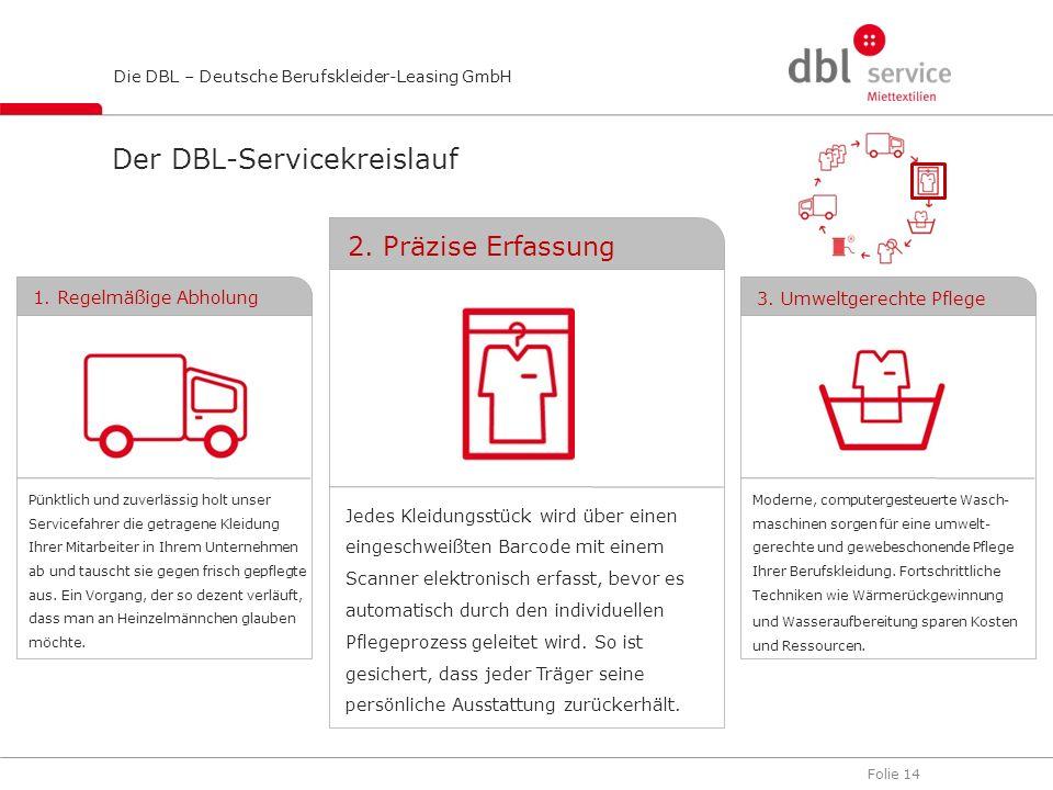 Folie 14 Die DBL – Deutsche Berufskleider-Leasing GmbH Jedes Kleidungsstück wird über einen eingeschweißten Barcode mit einem Scanner elektronisch erf