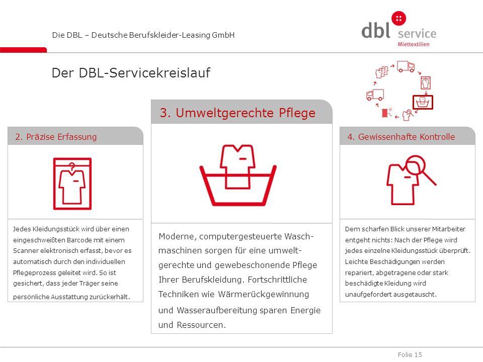Folie 15 Die DBL – Deutsche Berufskleider-Leasing GmbH Moderne, computergesteuerte Wasch- maschinen sorgen für eine umwelt- gerechte und gewebeschonen