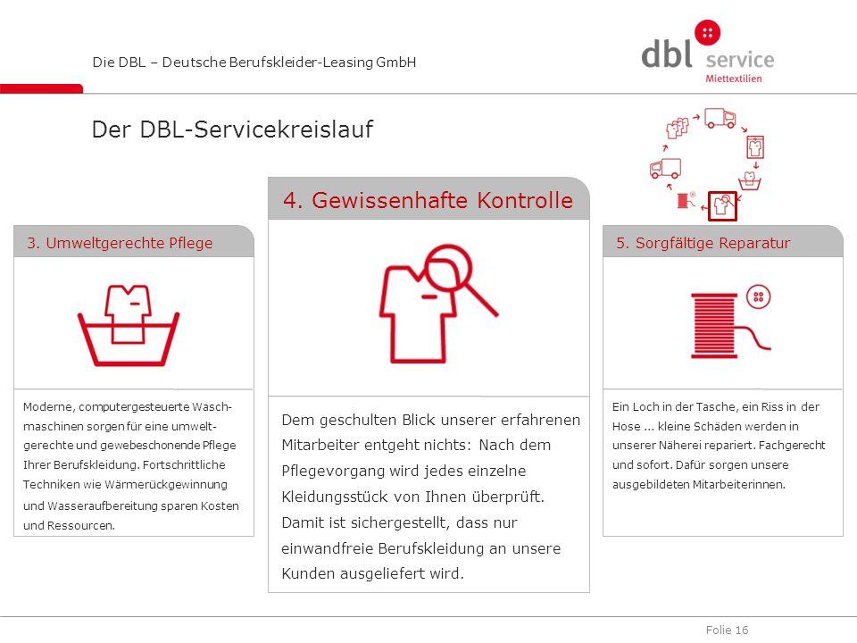 Folie 16 Die DBL – Deutsche Berufskleider-Leasing GmbH Dem geschulten Blick unserer erfahrenen Mitarbeiter entgeht nichts: Nach dem Pflegevorgang wird