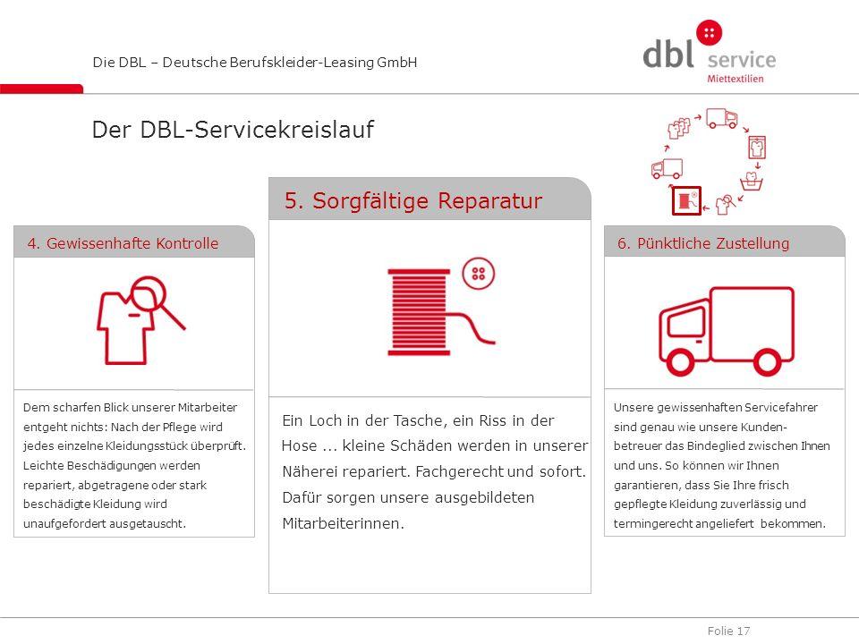 Folie 17 Die DBL – Deutsche Berufskleider-Leasing GmbH Der DBL-Servicekreislauf Ein Loch in der Tasche, ein Riss in der Hose... kleine Schäden werden