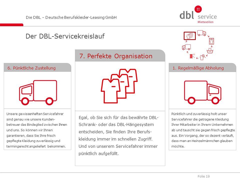 Folie 19 Die DBL – Deutsche Berufskleider-Leasing GmbH Der DBL-Servicekreislauf Egal, ob Sie sich für das bewährte DBL- Schrank- oder das DBL-Hängesys