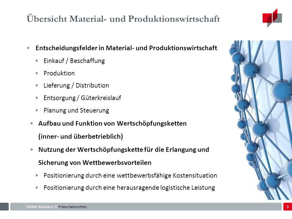 3 Übersicht Material- und Produktionswirtschaft Entscheidungsfelder in Material- und Produktionswirtschaft Einkauf / Beschaffung Produktion Lieferung / Distribution Entsorgung / Güterkreislauf Planung und Steuerung Aufbau und Funktion von Wertschöpfungsketten (inner- und überbetrieblich) Nutzung der Wertschöpfungskette für die Erlangung und Sicherung von Wettbewerbsvorteilen Positionierung durch eine wettbewerbsfähige Kostensituation Positionierung durch eine herausragende logistische Leistung DHBW Mosbach // Präsentationstitel.