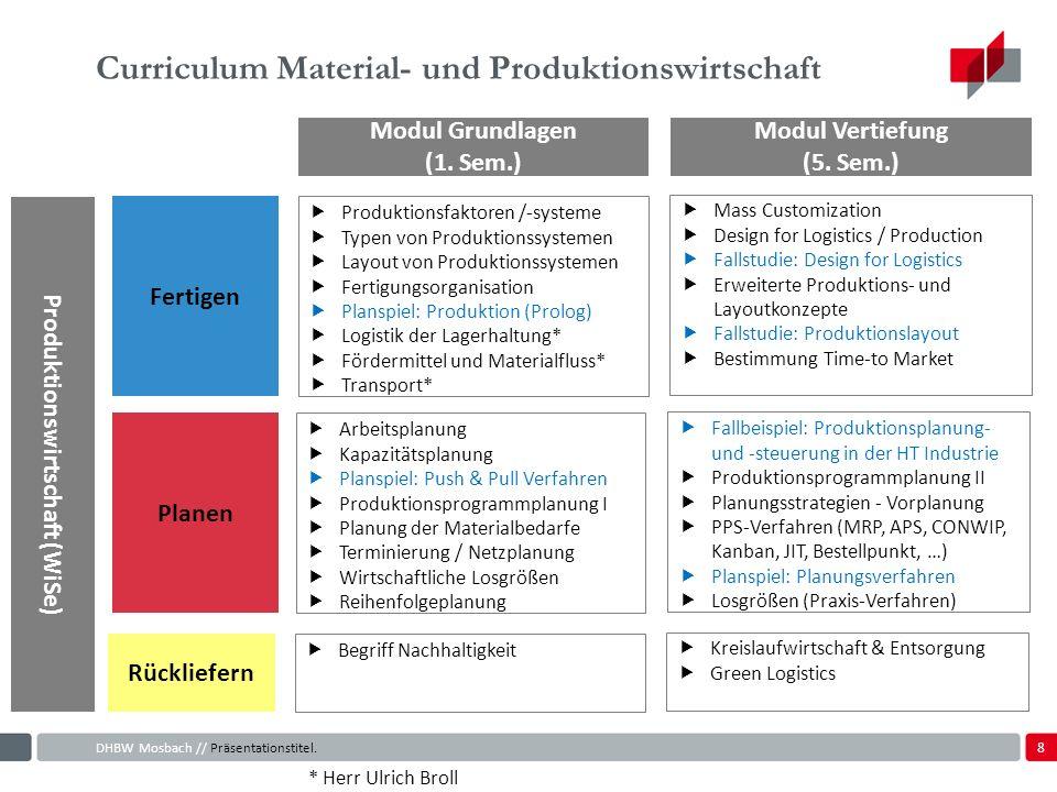 8 Curriculum Material- und Produktionswirtschaft DHBW Mosbach // Präsentationstitel.