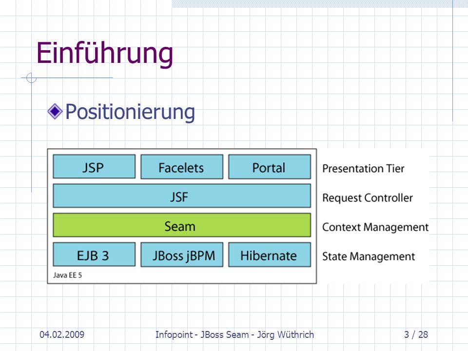 04.02.2009Infopoint - JBoss Seam - Jörg Wüthrich14 / 28 Zentrale Konzepte Kontext Event: entspricht einem JSF-Request Page: eine Instanz einer gerenderten Seite Conversation: Arbeitseinheit aus Sicht des Users (kann mehrere Server-Requests beinhalten) Session: Session-Scope des Servlet-APIs Business-Process: hält Zustand über länger dauernden Geschäftsprozess, in welchen mehrere Akteure involviert sein können Application: entspricht Application-Scope von JSF
