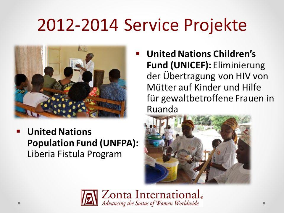 United Nations Childrens Fund (UNICEF): Eliminierung der Übertragung von HIV von Mütter auf Kinder und Hilfe für gewaltbetroffene Frauen in Ruanda United Nations Population Fund (UNFPA): Liberia Fistula Program 2012-2014 Service Projekte