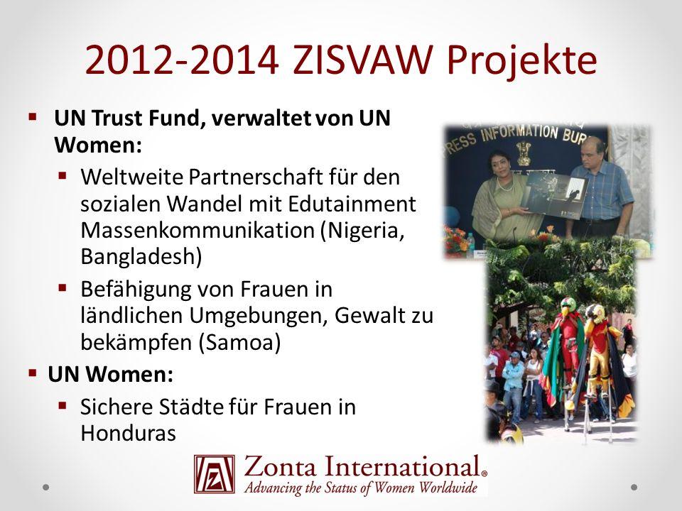 UN Trust Fund, verwaltet von UN Women: Weltweite Partnerschaft für den sozialen Wandel mit Edutainment Massenkommunikation (Nigeria, Bangladesh) Befähigung von Frauen in ländlichen Umgebungen, Gewalt zu bekämpfen (Samoa) UN Women: Sichere Städte für Frauen in Honduras 2012-2014 ZISVAW Projekte