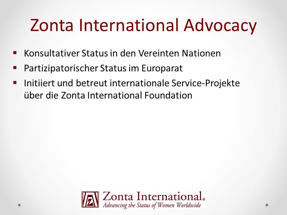 Konsultativer Status in den Vereinten Nationen Partizipatorischer Status im Europarat Initiiert und betreut internationale Service-Projekte über die Zonta International Foundation Zonta International Advocacy