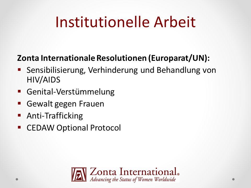 Zonta Internationale Resolutionen (Europarat/UN): Sensibilisierung, Verhinderung und Behandlung von HIV/AIDS Genital-Verstümmelung Gewalt gegen Frauen Anti-Trafficking CEDAW Optional Protocol Institutionelle Arbeit