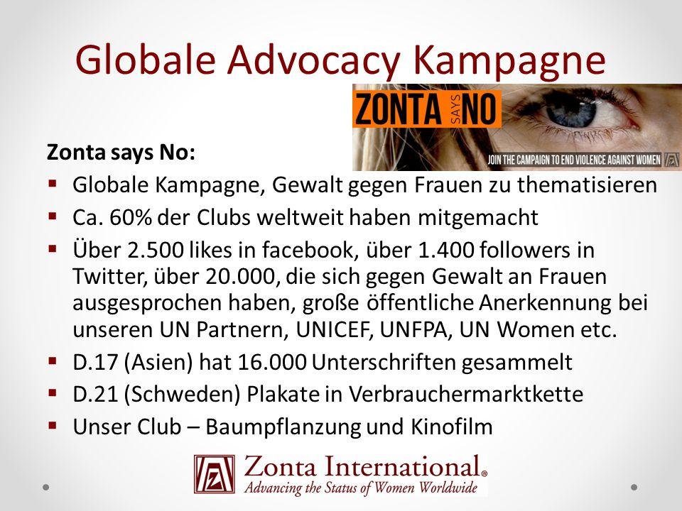 Zonta says No: Globale Kampagne, Gewalt gegen Frauen zu thematisieren Ca. 60% der Clubs weltweit haben mitgemacht Über 2.500 likes in facebook, über 1