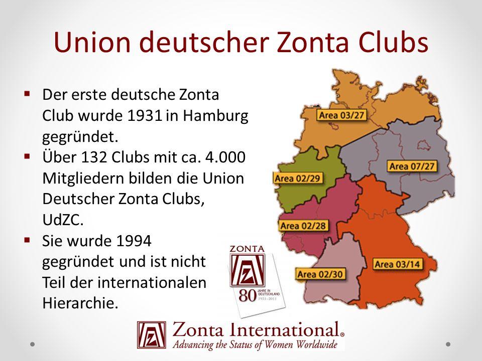 Der erste deutsche Zonta Club wurde 1931 in Hamburg gegründet. Über 132 Clubs mit ca. 4.000 Mitgliedern bilden die Union Deutscher Zonta Clubs, UdZC.