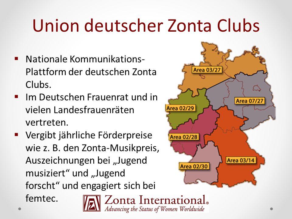 Nationale Kommunikations- Plattform der deutschen Zonta Clubs. Im Deutschen Frauenrat und in vielen Landesfrauenräten vertreten. Vergibt jährliche För