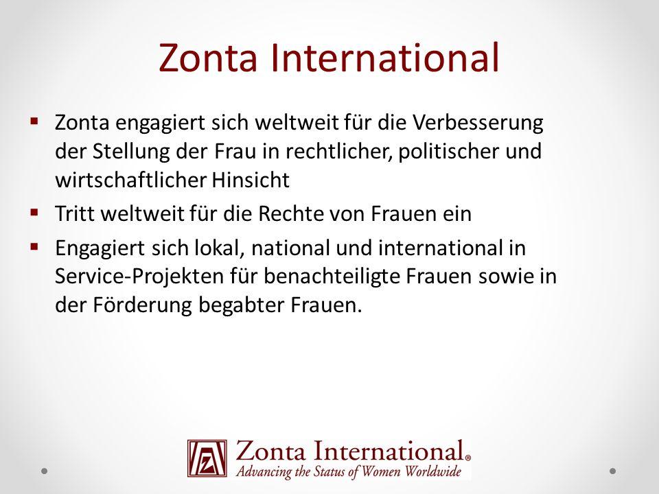 Zonta engagiert sich weltweit für die Verbesserung der Stellung der Frau in rechtlicher, politischer und wirtschaftlicher Hinsicht Tritt weltweit für die Rechte von Frauen ein Engagiert sich lokal, national und international in Service-Projekten für benachteiligte Frauen sowie in der Förderung begabter Frauen.