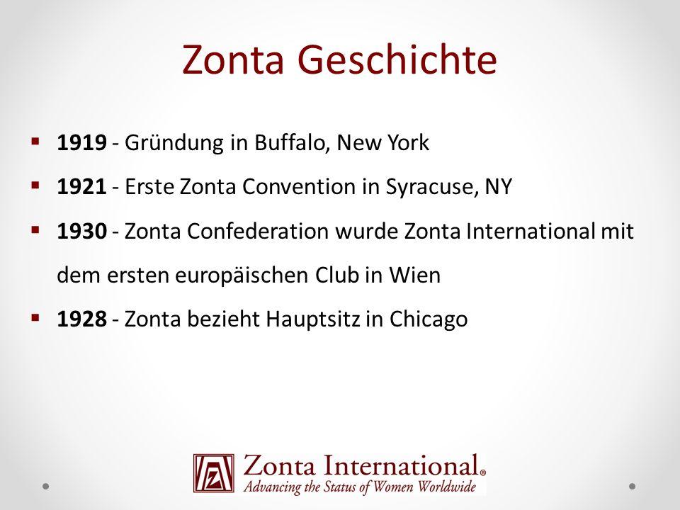 Zonta Geschichte 1919 - Gründung in Buffalo, New York 1921 - Erste Zonta Convention in Syracuse, NY 1930 - Zonta Confederation wurde Zonta Internation