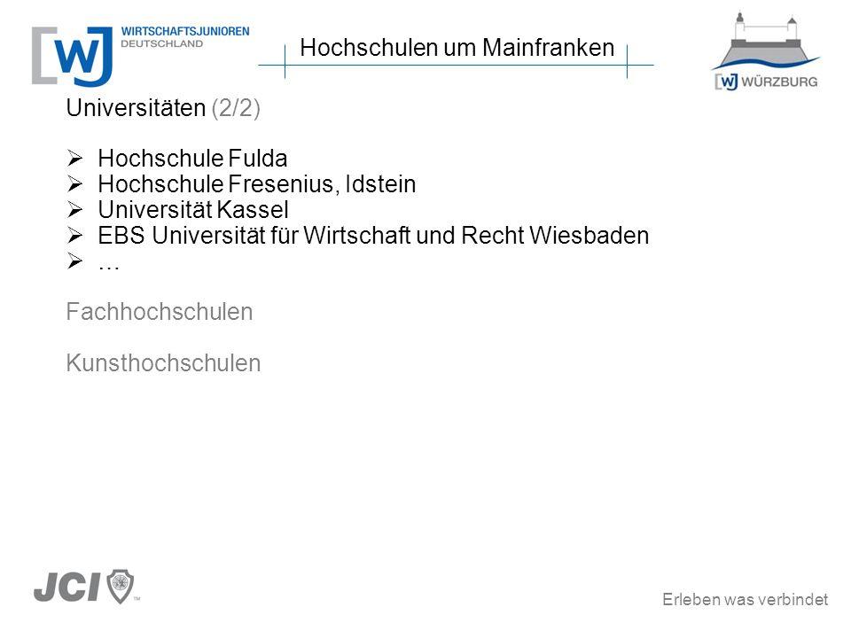 Erleben was verbindet Universitäten (2/2) Hochschule Fulda Hochschule Fresenius, Idstein Universität Kassel EBS Universität für Wirtschaft und Recht W