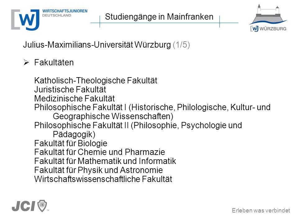 Erleben was verbindet Studiengänge in Mainfranken Julius-Maximilians-Universität Würzburg (1/5) Fakultäten Katholisch-Theologische Fakultät Juristisch