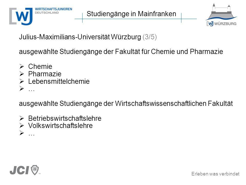 Erleben was verbindet Studiengänge in Mainfranken Julius-Maximilians-Universität Würzburg (3/5) ausgewählte Studiengänge der Fakultät für Chemie und Pharmazie Chemie Pharmazie Lebensmittelchemie … ausgewählte Studiengänge der Wirtschaftswissenschaftlichen Fakultät Betriebswirtschaftslehre Volkswirtschaftslehre …