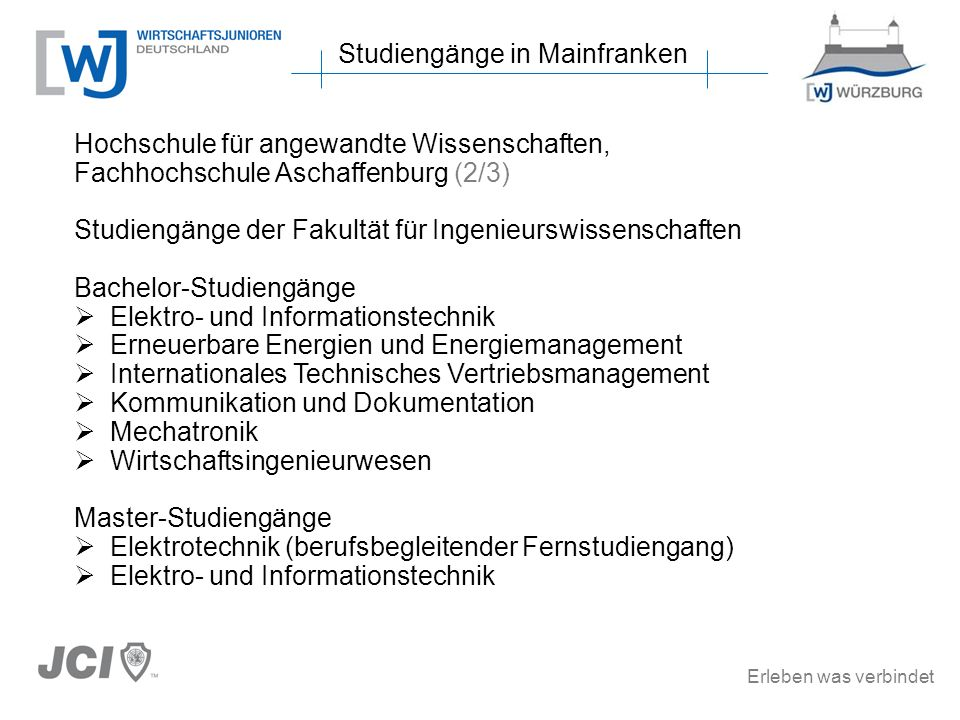 Erleben was verbindet Studiengänge in Mainfranken Hochschule für angewandte Wissenschaften, Fachhochschule Aschaffenburg (2/3) Studiengänge der Fakult