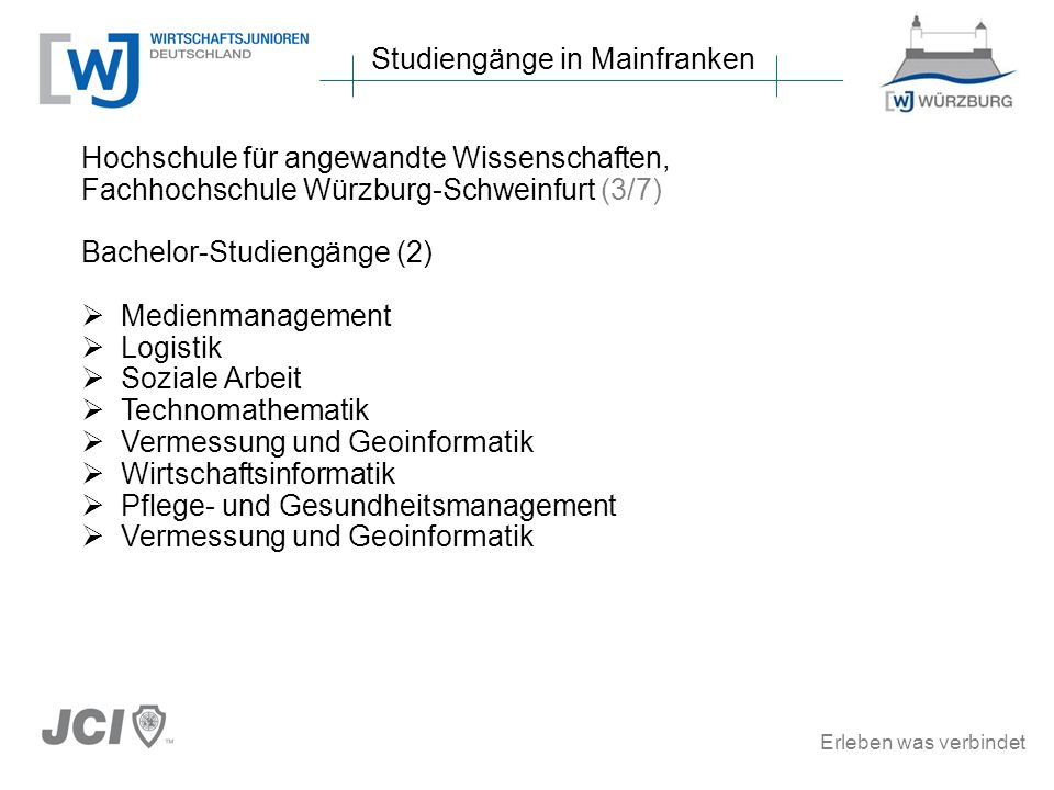 Erleben was verbindet Studiengänge in Mainfranken Hochschule für angewandte Wissenschaften, Fachhochschule Würzburg-Schweinfurt (3/7) Bachelor-Studien