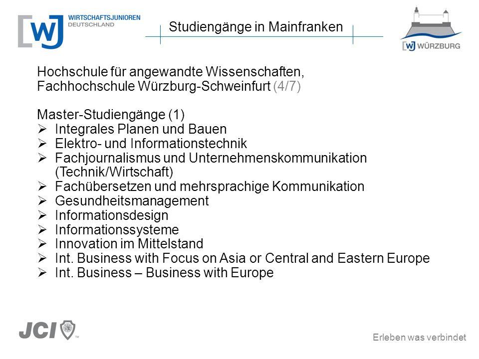 Erleben was verbindet Studiengänge in Mainfranken Hochschule für angewandte Wissenschaften, Fachhochschule Würzburg-Schweinfurt (4/7) Master-Studiengä