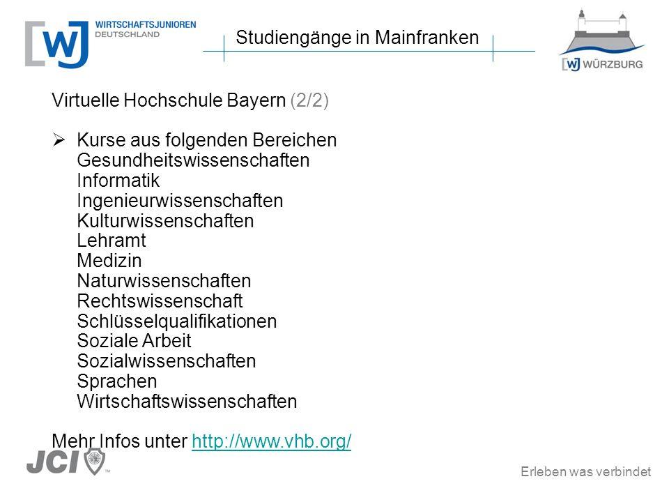 Erleben was verbindet Studiengänge in Mainfranken Virtuelle Hochschule Bayern (2/2) Kurse aus folgenden Bereichen Gesundheitswissenschaften Informatik