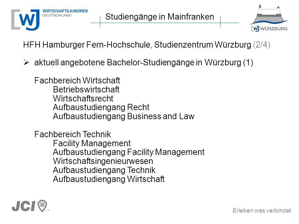 Erleben was verbindet Studiengänge in Mainfranken HFH Hamburger Fern-Hochschule, Studienzentrum Würzburg (2/4) aktuell angebotene Bachelor-Studiengäng