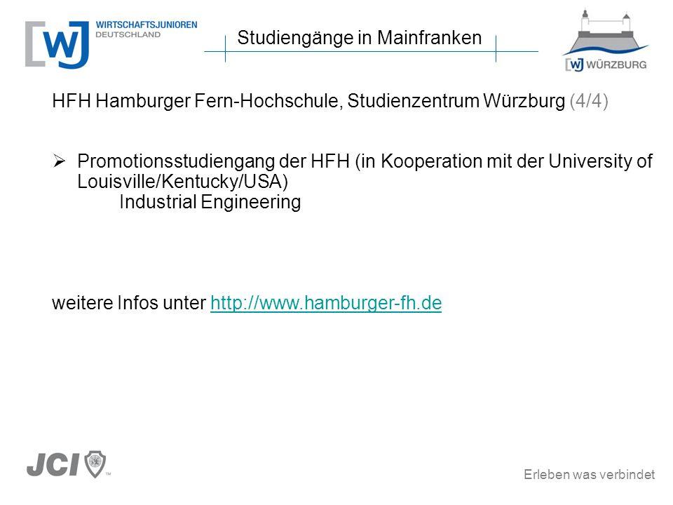 Erleben was verbindet Studiengänge in Mainfranken HFH Hamburger Fern-Hochschule, Studienzentrum Würzburg (4/4) Promotionsstudiengang der HFH (in Kooperation mit der University of Louisville/Kentucky/USA) Industrial Engineering weitere Infos unter http://www.hamburger-fh.dehttp://www.hamburger-fh.de