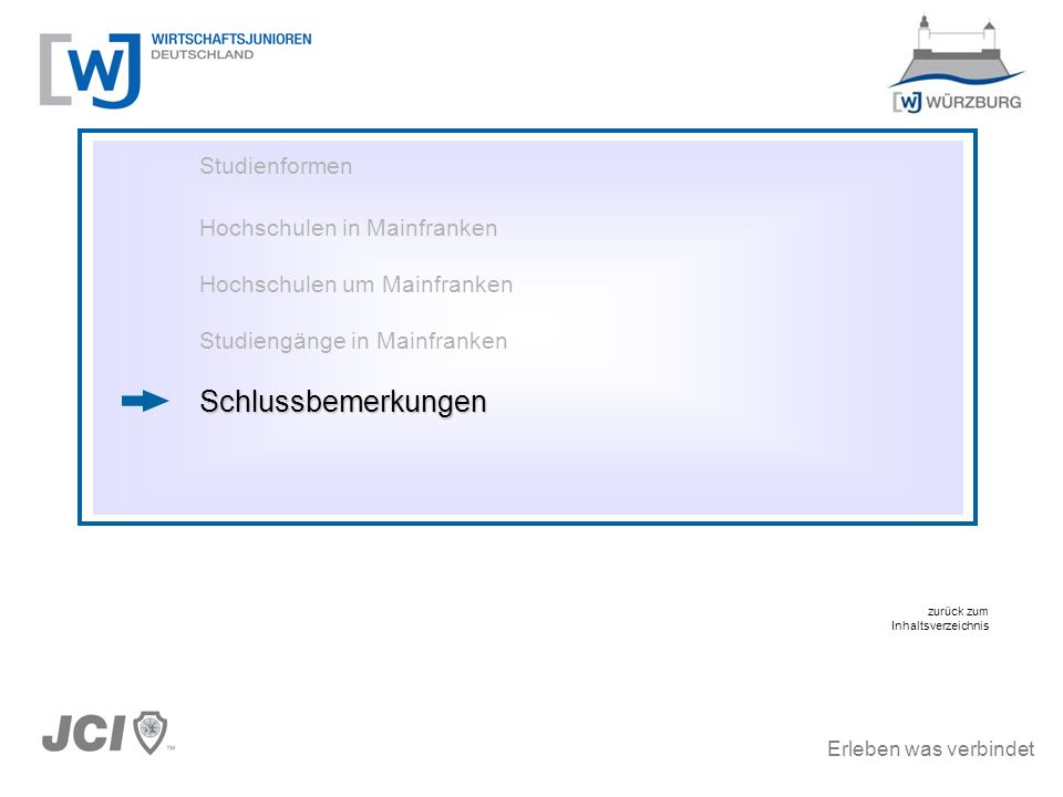 Erleben was verbindet Studienformen Hochschulen in Mainfranken Hochschulen um Mainfranken Studiengänge in MainfrankenSchlussbemerkungen zurück zum Inh
