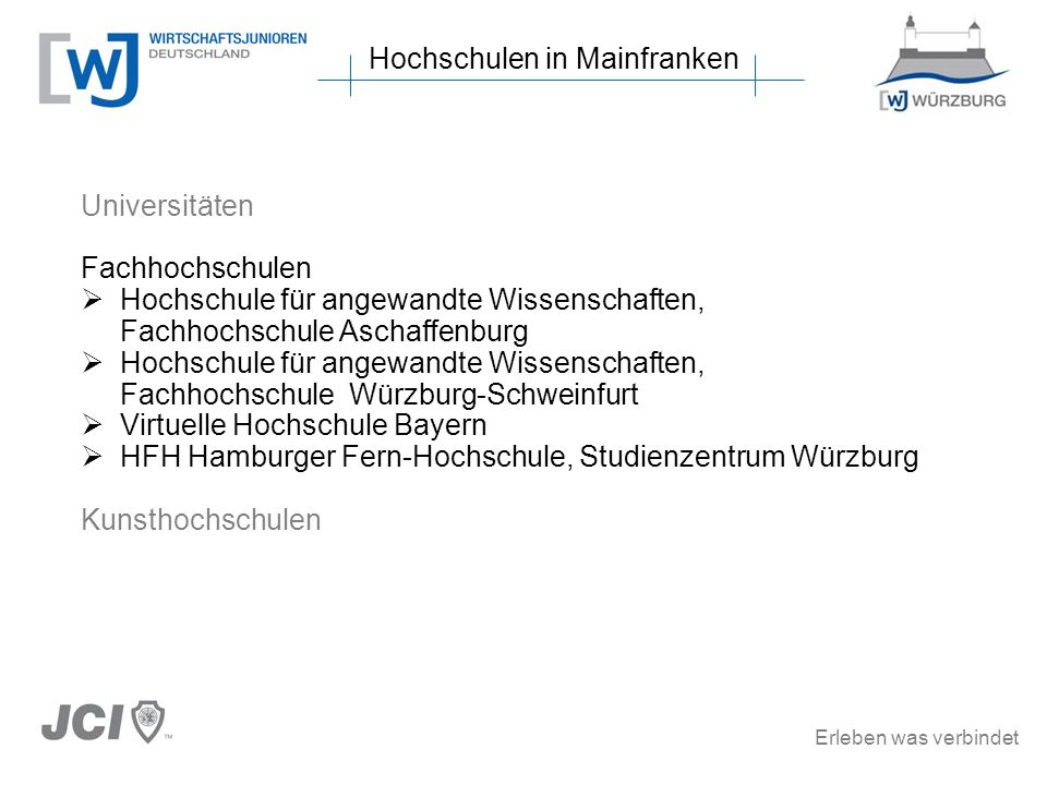 Erleben was verbindet Studiengänge in Mainfranken Hochschule für angewandte Wissenschaften, Fachhochschule Würzburg-Schweinfurt (3/7) Bachelor-Studiengänge (2) Medienmanagement Logistik Soziale Arbeit Technomathematik Vermessung und Geoinformatik Wirtschaftsinformatik Pflege- und Gesundheitsmanagement Vermessung und Geoinformatik