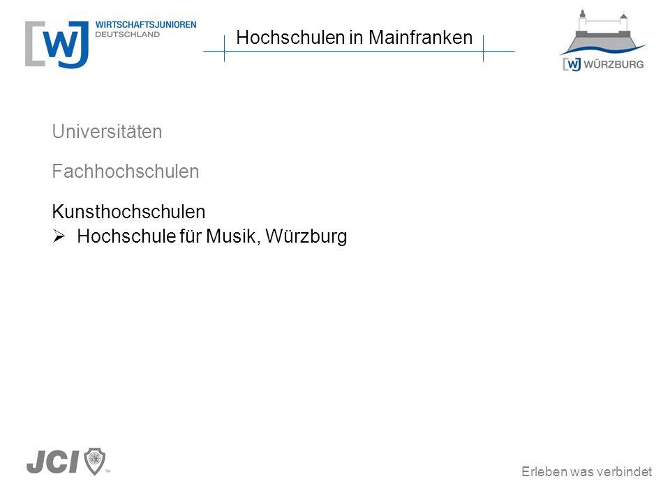 Erleben was verbindet Hochschulen in Mainfranken Universitäten Fachhochschulen Kunsthochschulen Hochschule für Musik, Würzburg