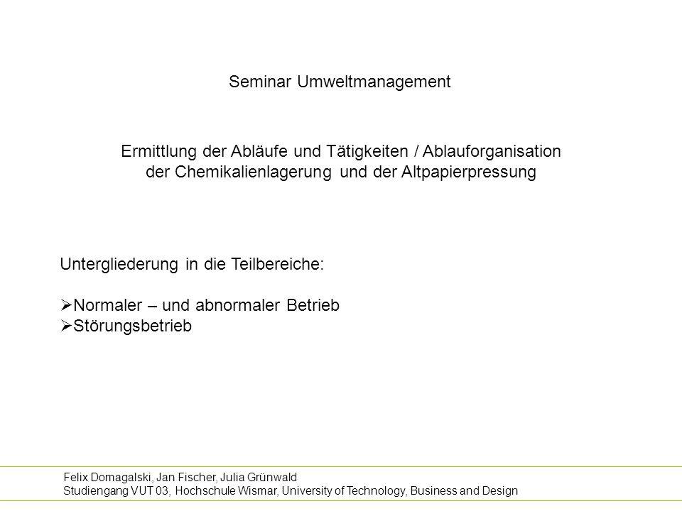 Seminar Umweltmanagement Ermittlung der Abläufe und Tätigkeiten / Ablauforganisation der Chemikalienlagerung und der Altpapierpressung Felix Domagalsk