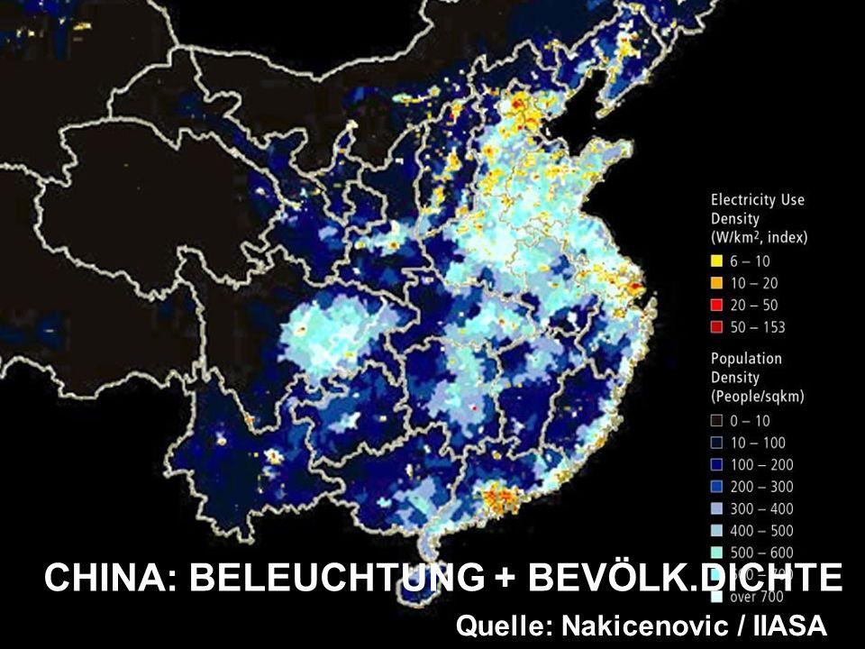 CHINA: BELEUCHTUNG + BEVÖLK.DICHTE Quelle: Nakicenovic / IIASA