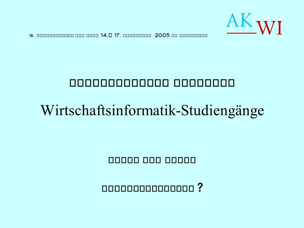 Akkreditierte Studiengänge - Übersicht : Standard WI-Studiengänge : 14 Entfernte Verwandtschaft : 5 WI-Bacherlors insg.