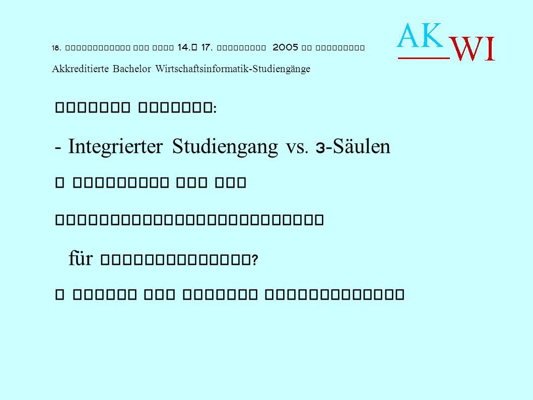 Weitere Aspekte : - Integrierter Studiengang vs.