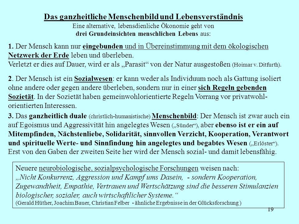 19 Das ganzheitliche Menschenbild und Lebensverständnis 1.