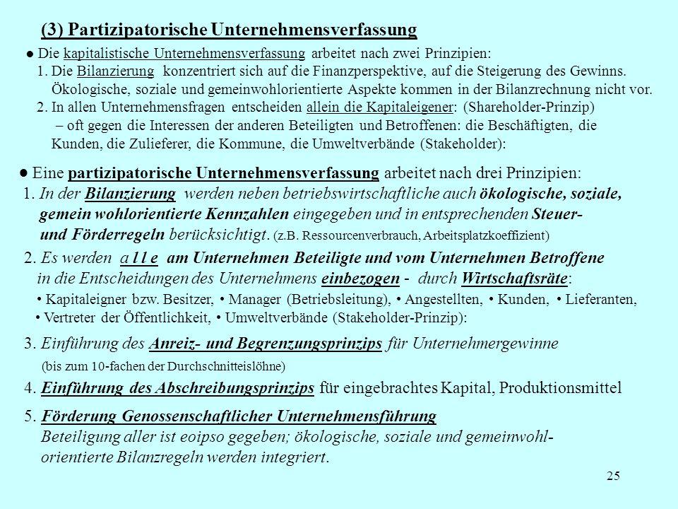 25 (3) Partizipatorische Unternehmensverfassung Die kapitalistische Unternehmensverfassung arbeitet nach zwei Prinzipien: 1. Die Bilanzierung konzentr