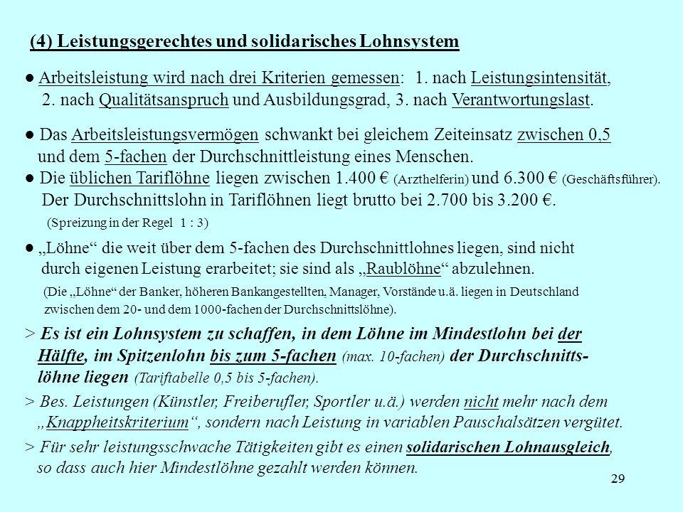 29 (4) Leistungsgerechtes und solidarisches Lohnsystem Löhne die weit über dem 5-fachen des Durchschnittlohnes liegen, sind nicht durch eigenen Leistu