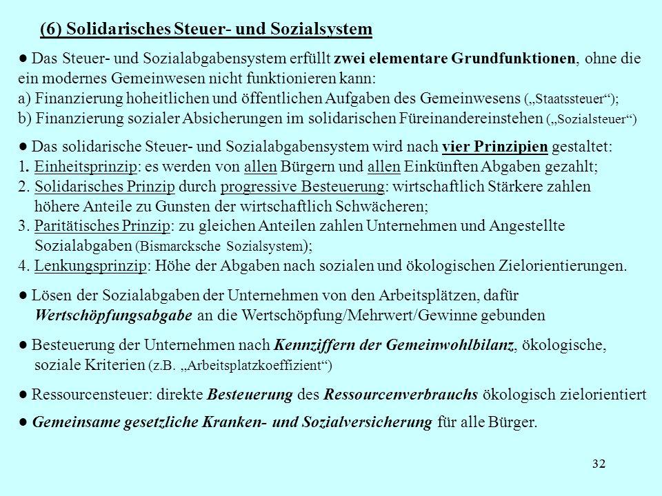 32 (6) Solidarisches Steuer- und Sozialsystem Das Steuer- und Sozialabgabensystem erfüllt zwei elementare Grundfunktionen, ohne die ein modernes Gemei