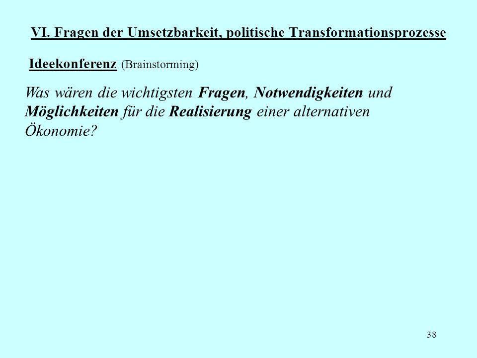 38 VI. Fragen der Umsetzbarkeit, politische Transformationsprozesse Ideekonferenz (Brainstorming) Was wären die wichtigsten Fragen, Notwendigkeiten un