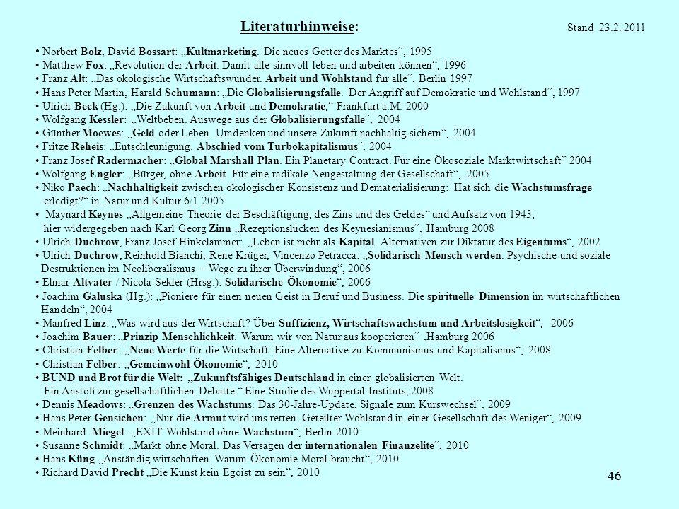 46 Literaturhinweise: Norbert Bolz, David Bossart: Kultmarketing. Die neues Götter des Marktes, 1995 Matthew Fox: Revolution der Arbeit. Damit alle si