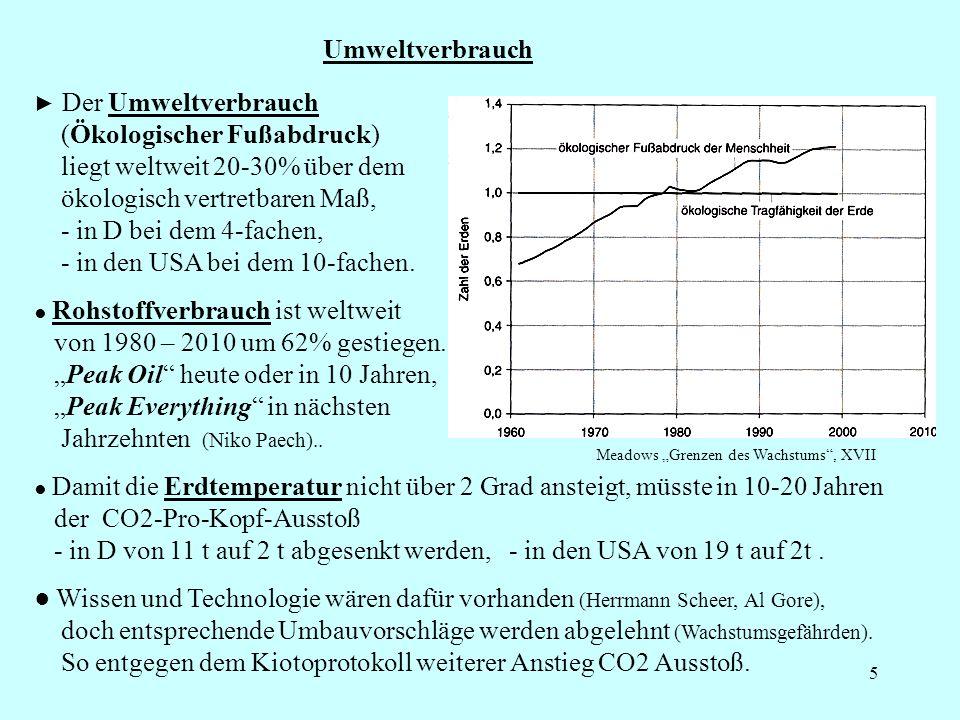 5 Umweltverbrauch Wissen und Technologie wären dafür vorhanden (Herrmann Scheer, Al Gore), doch entsprechende Umbauvorschläge werden abgelehnt (Wachstumsgefährden).