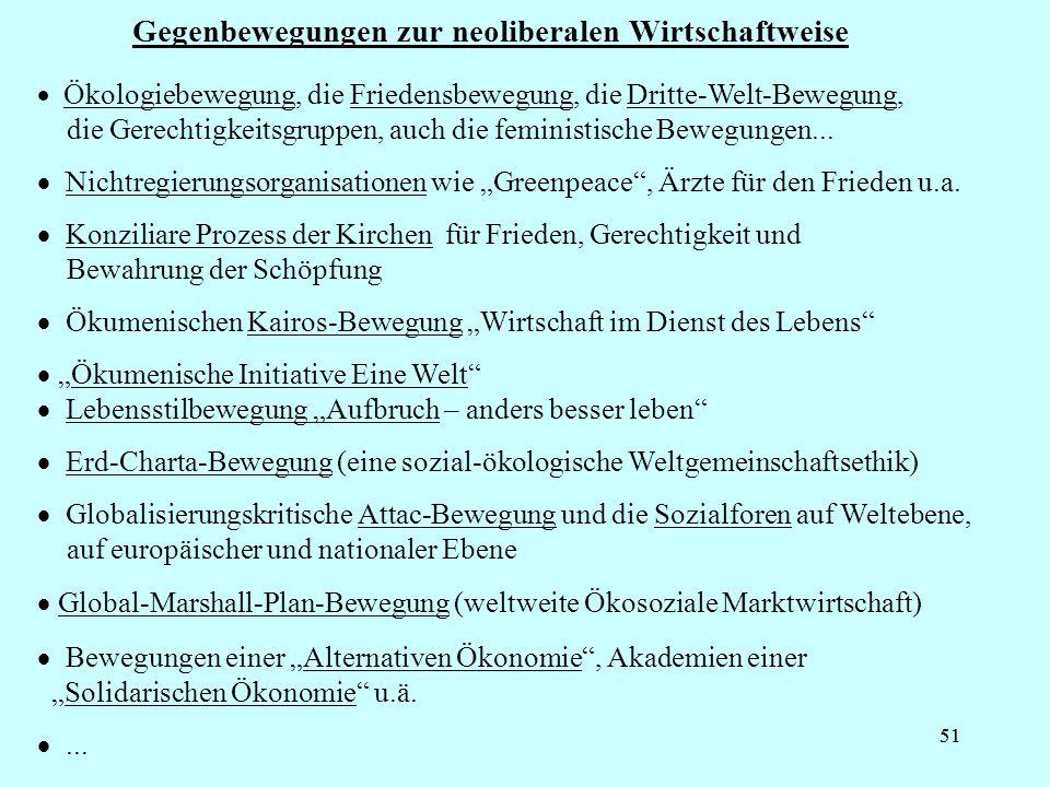 51 Gegenbewegungen zur neoliberalen Wirtschaftweise Ökologiebewegung, die Friedensbewegung, die Dritte-Welt-Bewegung, die Gerechtigkeitsgruppen, auch die feministische Bewegungen...
